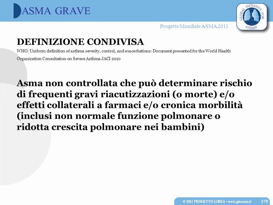 Progetto Mondiale ASMA 2011 ASMA GRAVE DEFINIZIONE CONDIVISA WHO. Uniform definition of asthma severity, control, and exacerbations: Document presente