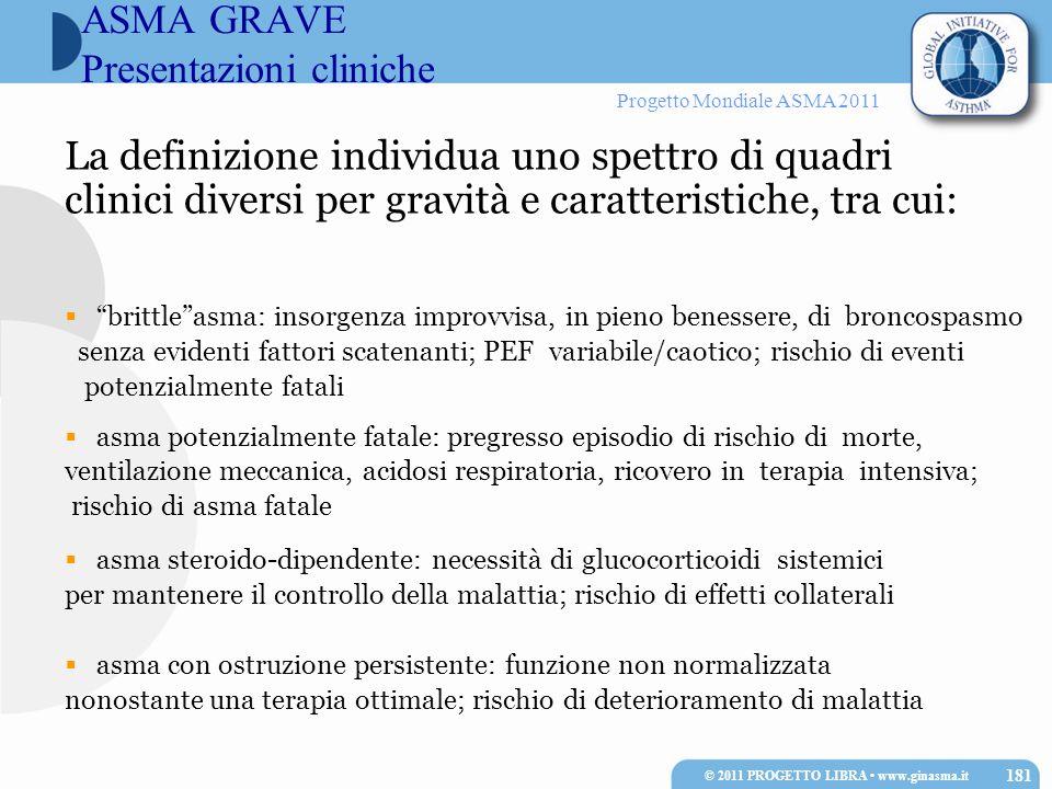 Progetto Mondiale ASMA 2011 La definizione individua uno spettro di quadri clinici diversi per gravità e caratteristiche, tra cui: brittleasma: insorg