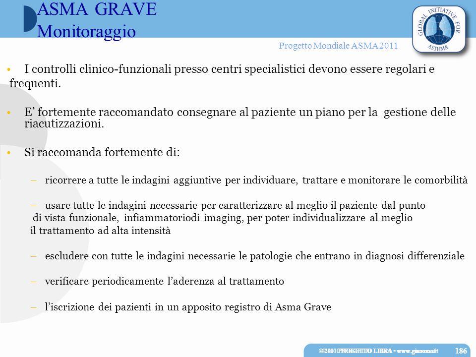Progetto Mondiale ASMA 2011 © 2010 PROGETTO LIBRA www.ginasma.it 186 I controlli clinico-funzionali presso centri specialistici devono essere regolari