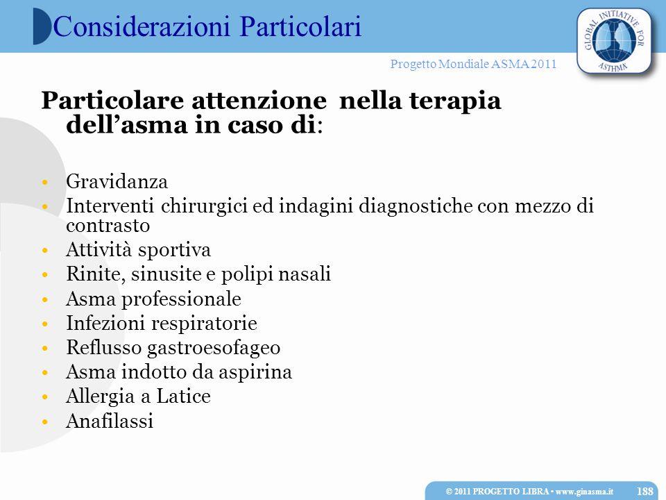 Progetto Mondiale ASMA 2011 Considerazioni Particolari Particolare attenzione nella terapia dellasma in caso di: Gravidanza Interventi chirurgici ed i