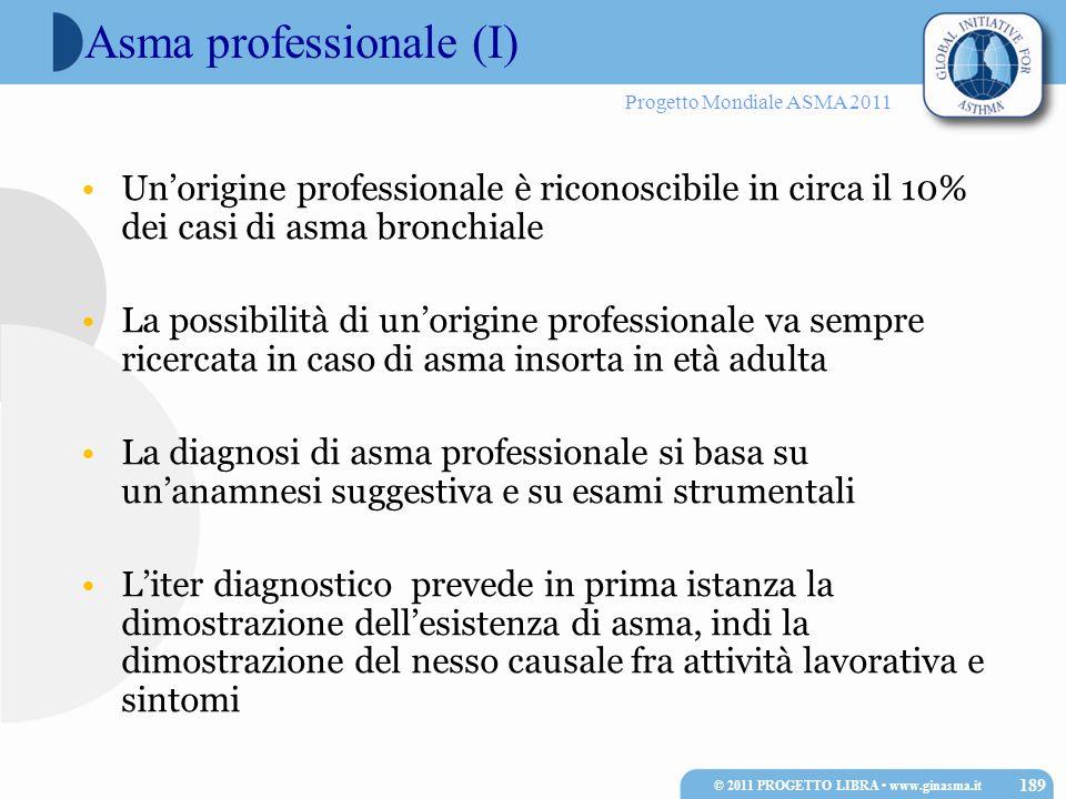 Progetto Mondiale ASMA 2011 Asma professionale (I) Unorigine professionale è riconoscibile in circa il 10% dei casi di asma bronchiale La possibilità