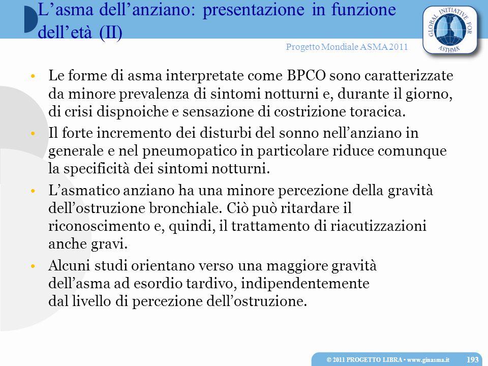 Progetto Mondiale ASMA 2011 Le forme di asma interpretate come BPCO sono caratterizzate da minore prevalenza di sintomi notturni e, durante il giorno,