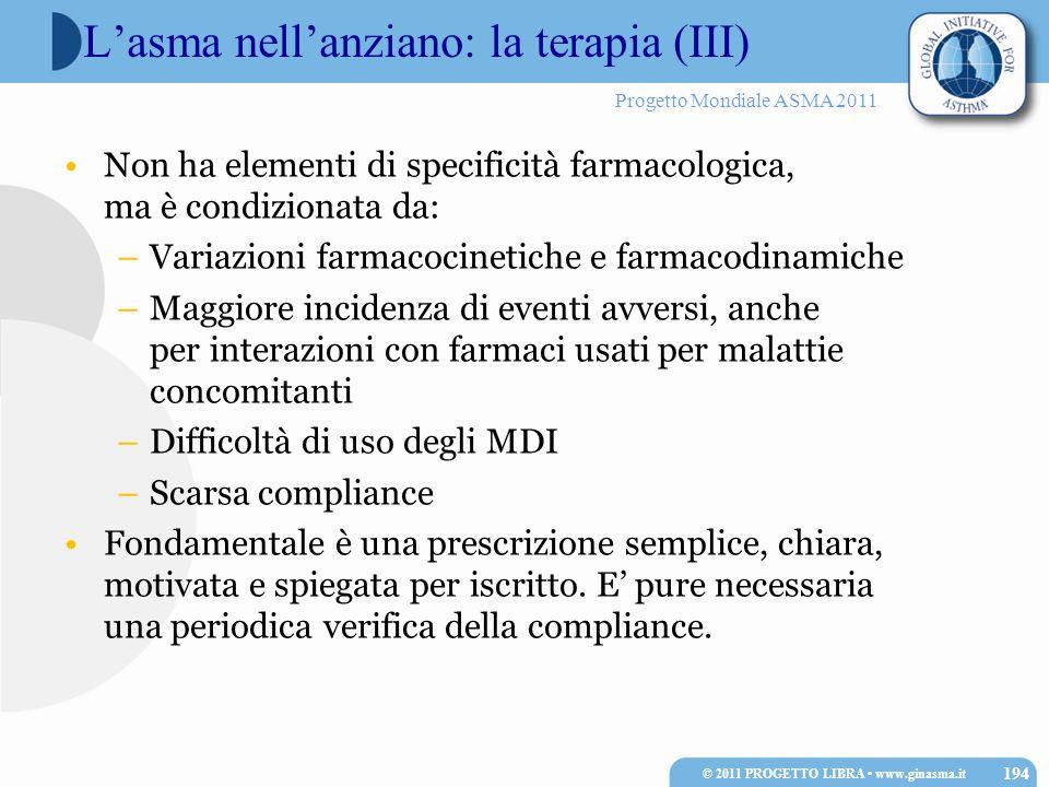 Progetto Mondiale ASMA 2011 Lasma nellanziano: la terapia (III) Non ha elementi di specificità farmacologica, ma è condizionata da: –Variazioni farmac