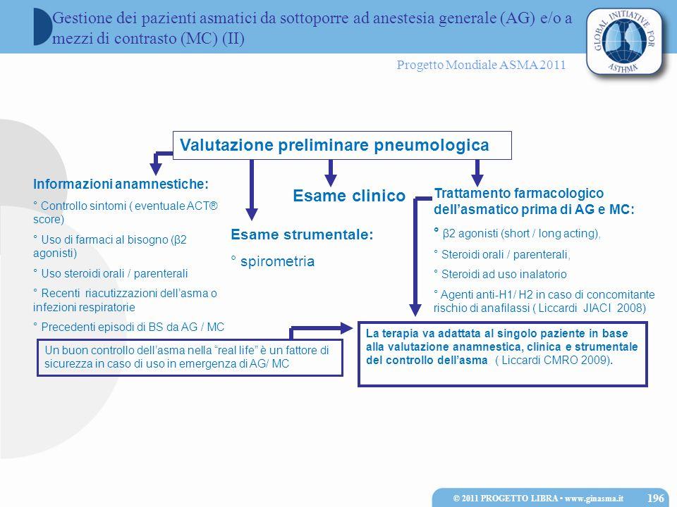 Progetto Mondiale ASMA 2011 Valutazione preliminare pneumologica Informazioni anamnestiche: ° Controllo sintomi ( eventuale ACT® score) ° Uso di farma