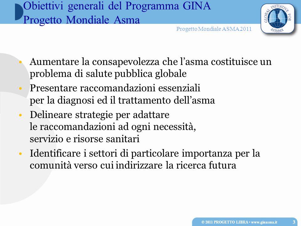 Progetto Mondiale ASMA 2011 Aumentare la consapevolezza che lasma costituisce un problema di salute pubblica globale Presentare raccomandazioni essenz