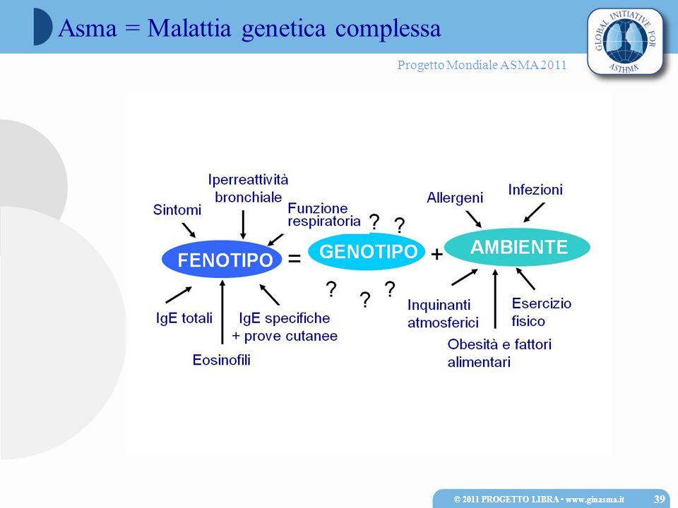 Progetto Mondiale ASMA 2011 Asma = Malattia genetica complessa © 2011 PROGETTO LIBRA www.ginasma.it 39