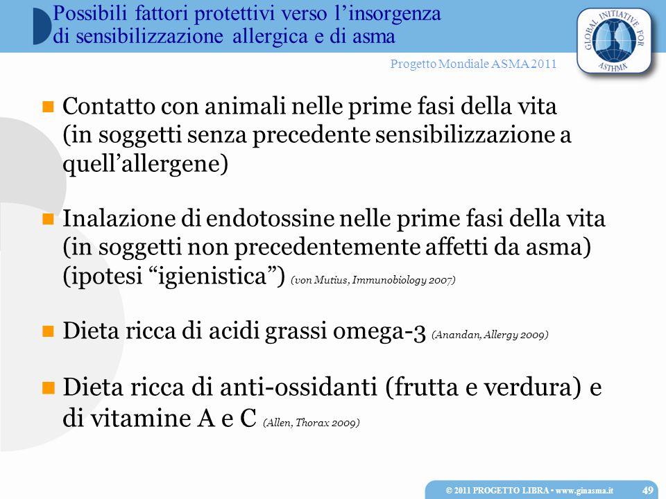 Progetto Mondiale ASMA 2011 Possibili fattori protettivi verso linsorgenza di sensibilizzazione allergica e di asma Contatto con animali nelle prime f