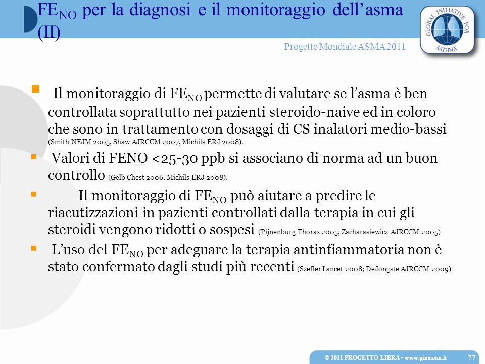 Progetto Mondiale ASMA 2011 Il monitoraggio di FE NO permette di valutare se lasma è ben controllata soprattutto nei pazienti steroido-naive ed in col