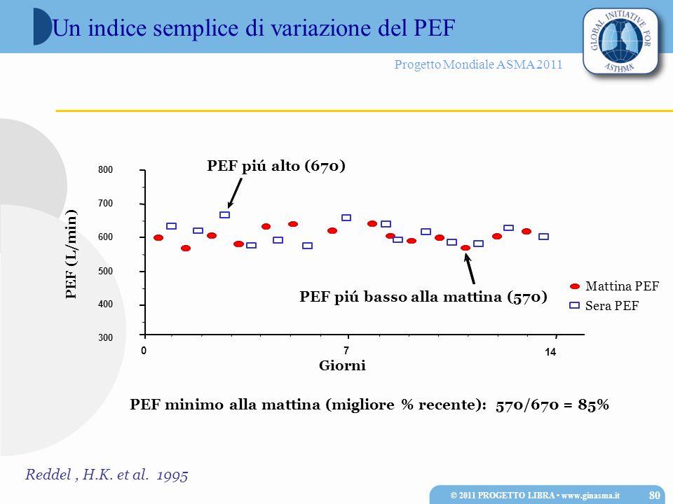 Progetto Mondiale ASMA 2011 Un indice semplice di variazione del PEF © 2011 PROGETTO LIBRA www.ginasma.it 80 PEF (L/min) 300 400 500 600 700 800 Giorn
