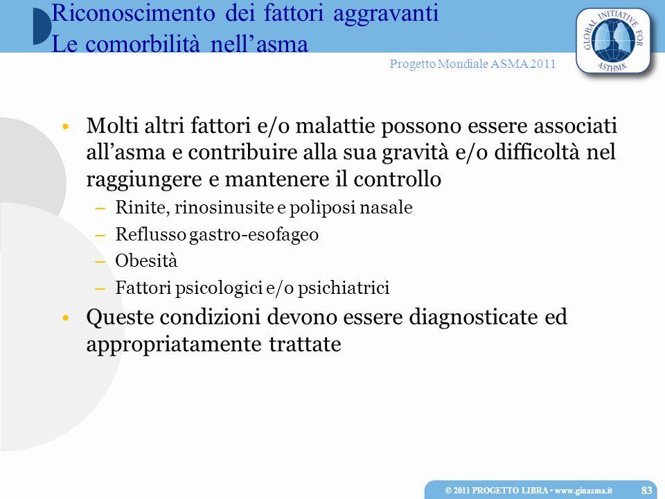 Progetto Mondiale ASMA 2011 Molti altri fattori e/o malattie possono essere associati allasma e contribuire alla sua gravità e/o difficoltà nel raggiu