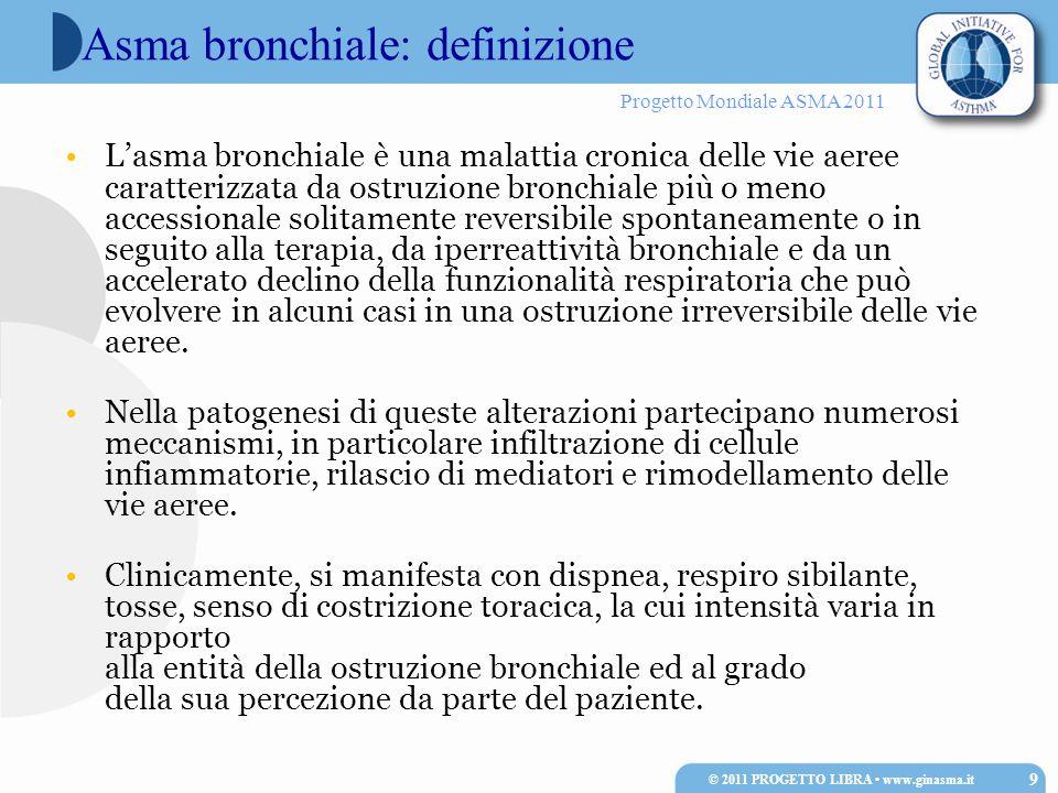 Progetto Mondiale ASMA 2011 Lasma bronchiale è una malattia cronica delle vie aeree caratterizzata da ostruzione bronchiale più o meno accessionale so