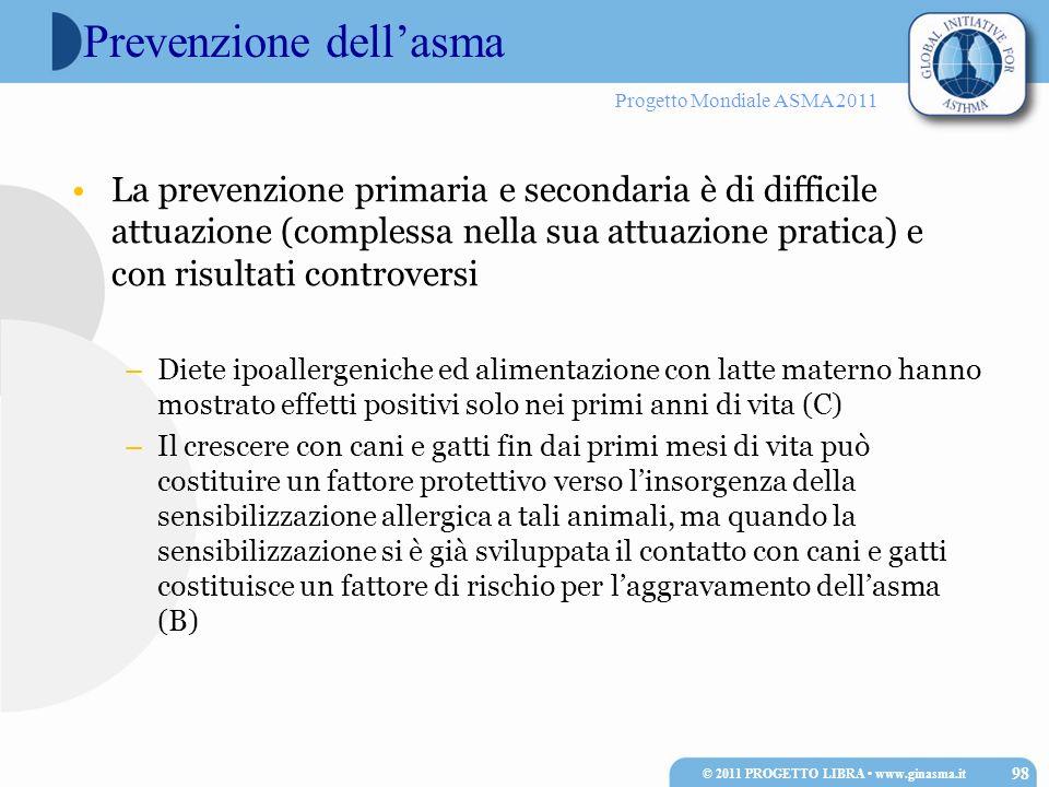 Progetto Mondiale ASMA 2011 Prevenzione dellasma La prevenzione primaria e secondaria è di difficile attuazione (complessa nella sua attuazione pratic