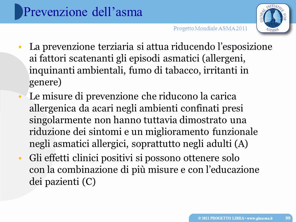 Progetto Mondiale ASMA 2011 Prevenzione dellasma La prevenzione terziaria si attua riducendo lesposizione ai fattori scatenanti gli episodi asmatici (