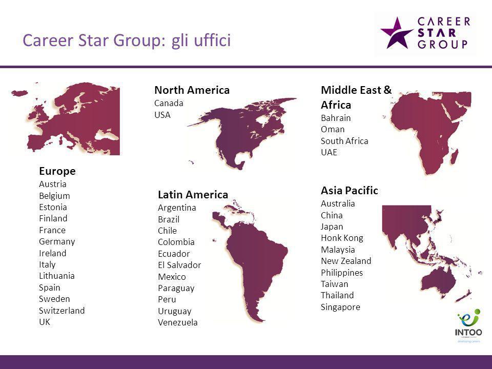 Career Star Group: gli uffici Europe Austria Belgium Estonia Finland France Germany Ireland Italy Lithuania Spain Sweden Switzerland UK North America