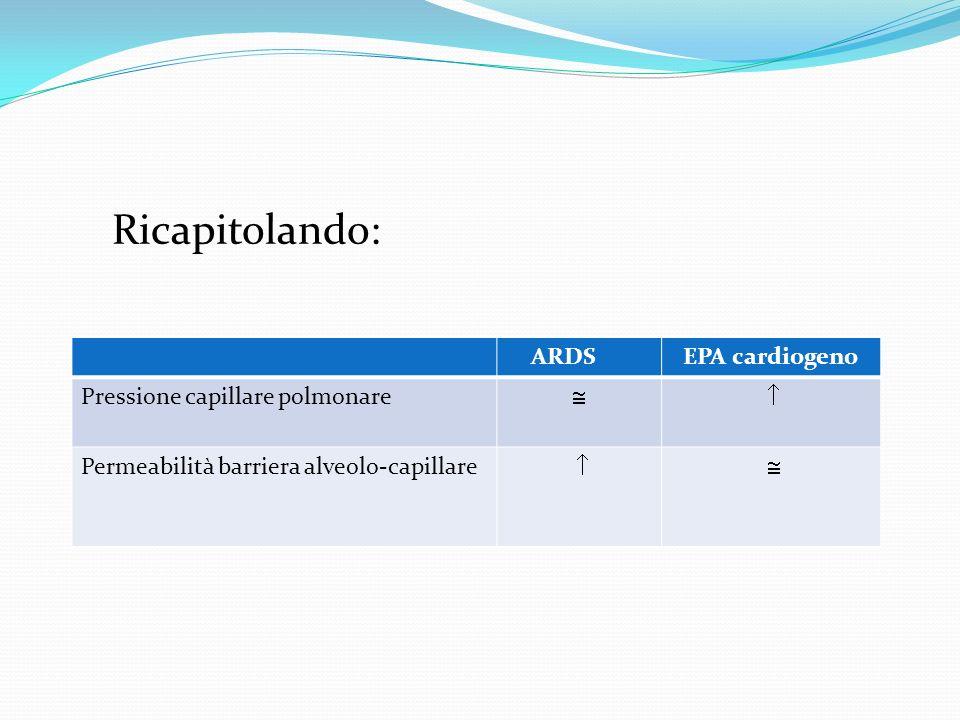 Ricapitolando: ARDSEPA cardiogeno Pressione capillare polmonare Permeabilità barriera alveolo-capillare