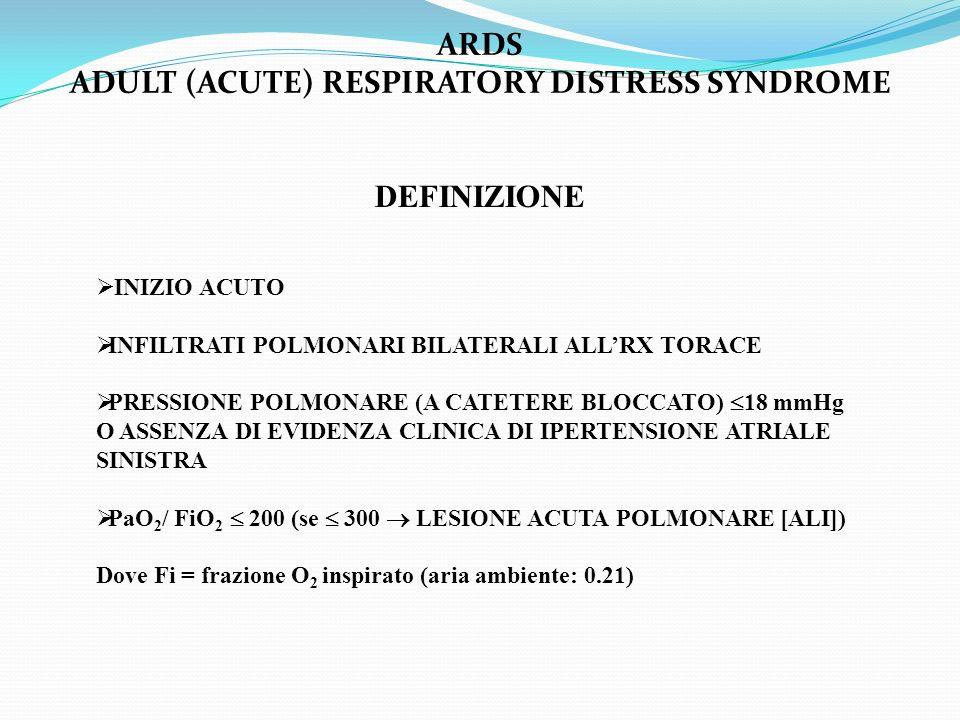 ARDS ADULT (ACUTE) RESPIRATORY DISTRESS SYNDROME DEFINIZIONE INIZIO ACUTO INFILTRATI POLMONARI BILATERALI ALLRX TORACE PRESSIONE POLMONARE (A CATETERE