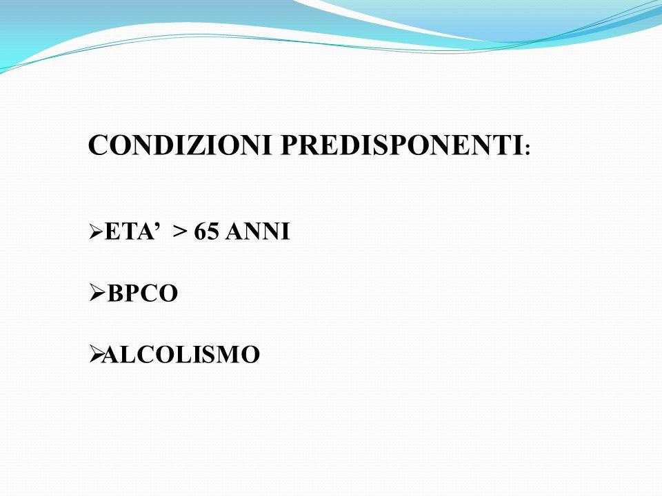 CONDIZIONI PREDISPONENTI : ETA > 65 ANNI BPCO ALCOLISMO