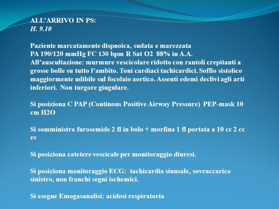 ALLARRIVO IN PS: H. 9.10 Paziente marcatamente dispnoica, sudata e marezzata PA 190/120 mmHg FC 130 bpm R Sat O2 88% in A.A. Allauscultazione: murmure