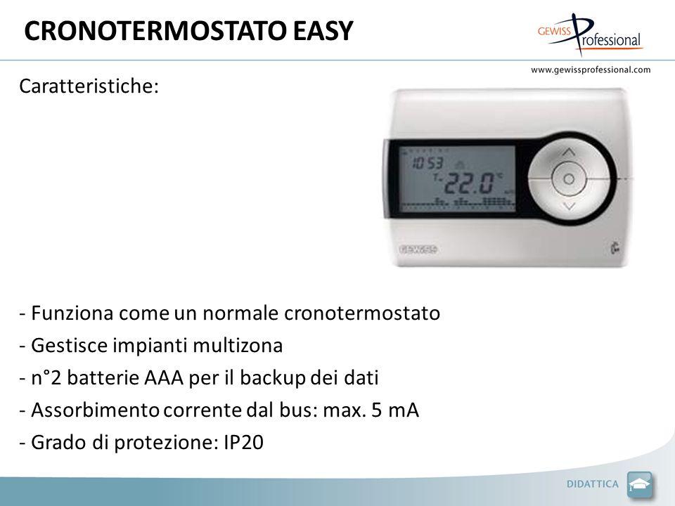CRONOTERMOSTATO EASY Caratteristiche: - Funziona come un normale cronotermostato - Gestisce impianti multizona - n°2 batterie AAA per il backup dei dati - Assorbimento corrente dal bus: max.