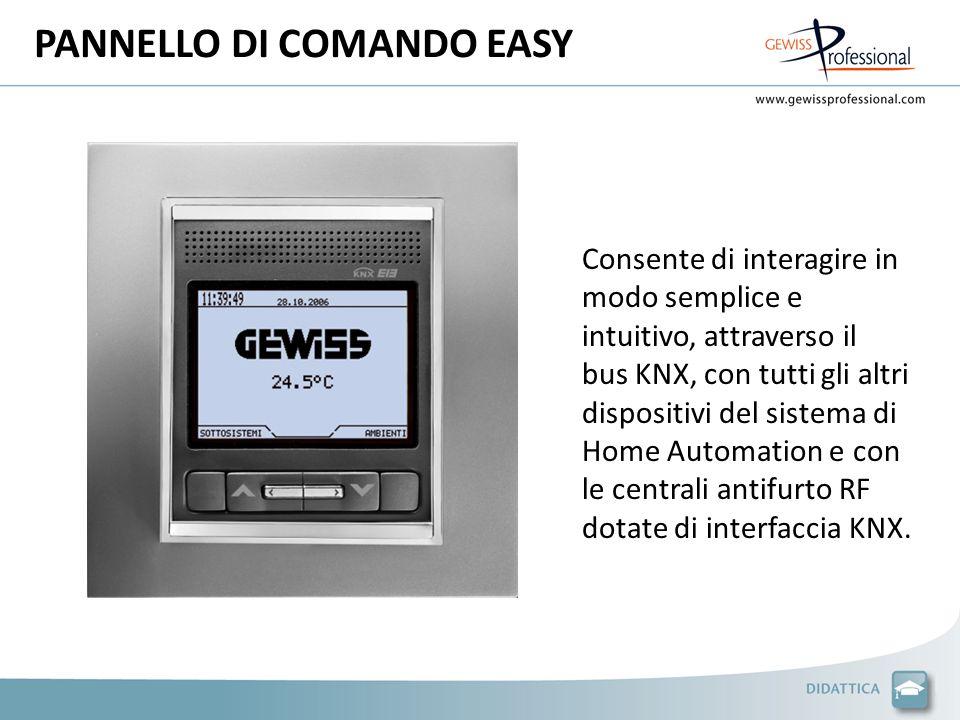 PANNELLO DI COMANDO EASY Consente di interagire in modo semplice e intuitivo, attraverso il bus KNX, con tutti gli altri dispositivi del sistema di Home Automation e con le centrali antifurto RF dotate di interfaccia KNX.