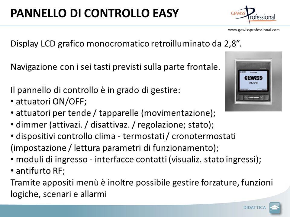 PANNELLO DI CONTROLLO EASY Display LCD grafico monocromatico retroilluminato da 2,8. Navigazione con i sei tasti previsti sulla parte frontale. Il pan