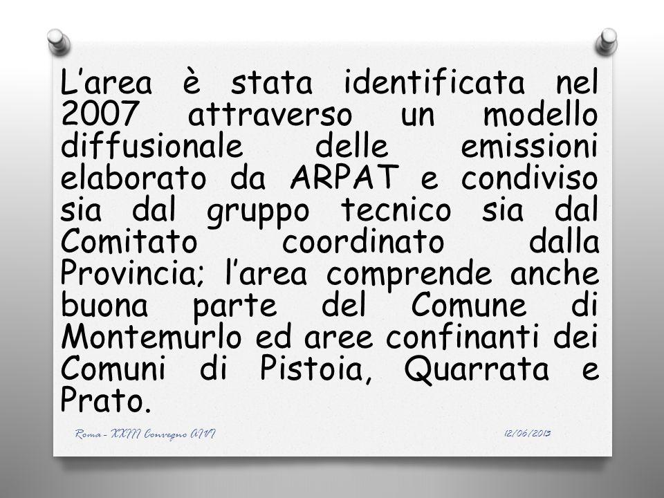Larea è stata identificata nel 2007 attraverso un modello diffusionale delle emissioni elaborato da ARPAT e condiviso sia dal gruppo tecnico sia dal Comitato coordinato dalla Provincia; larea comprende anche buona parte del Comune di Montemurlo ed aree confinanti dei Comuni di Pistoia, Quarrata e Prato.