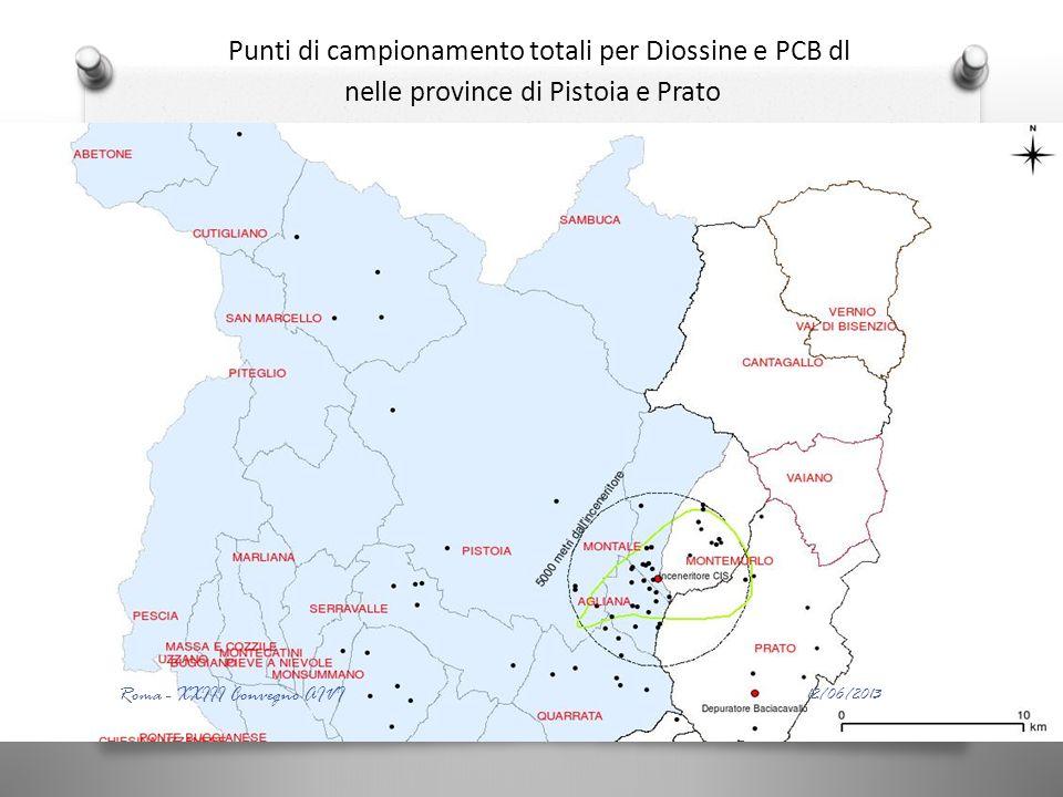 Punti di campionamento totali per Diossine e PCB dl nelle province di Pistoia e Prato 12/06/2013 Roma - XXIII Convegno AIVI