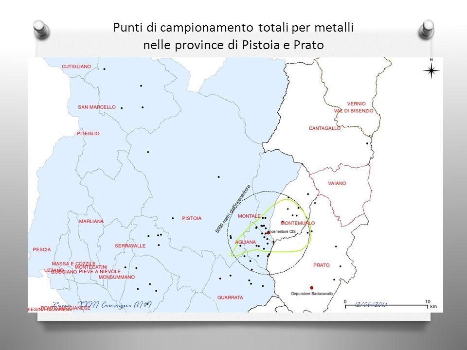 Punti di campionamento totali per metalli nelle province di Pistoia e Prato 12/06/2013 Roma - XXIII Convegno AIVI
