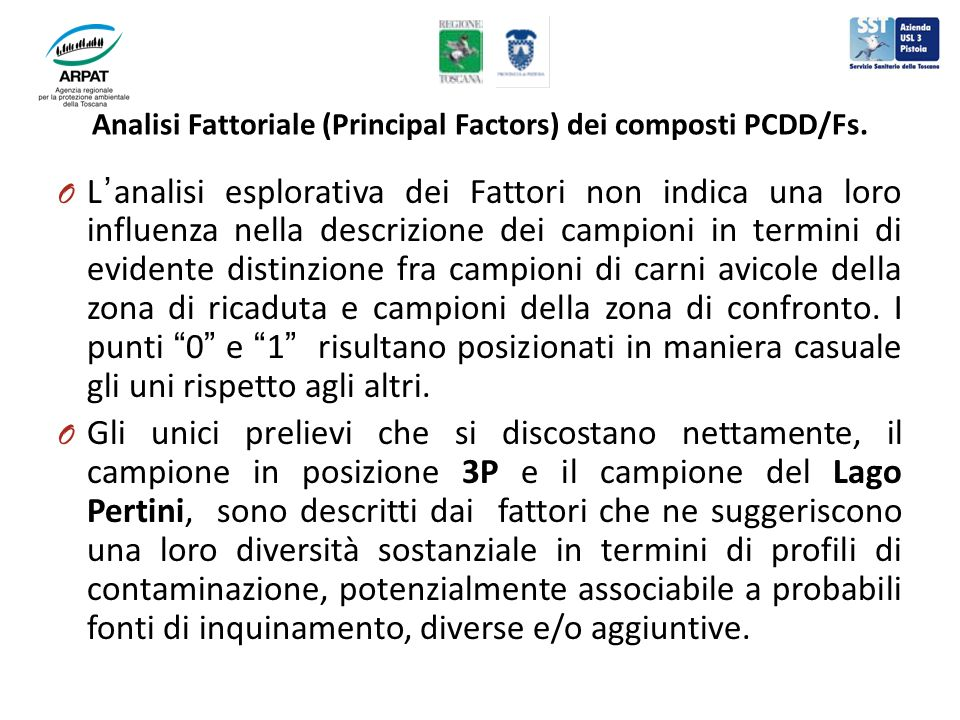 O Lanalisi esplorativa dei Fattori non indica una loro influenza nella descrizione dei campioni in termini di evidente distinzione fra campioni di car