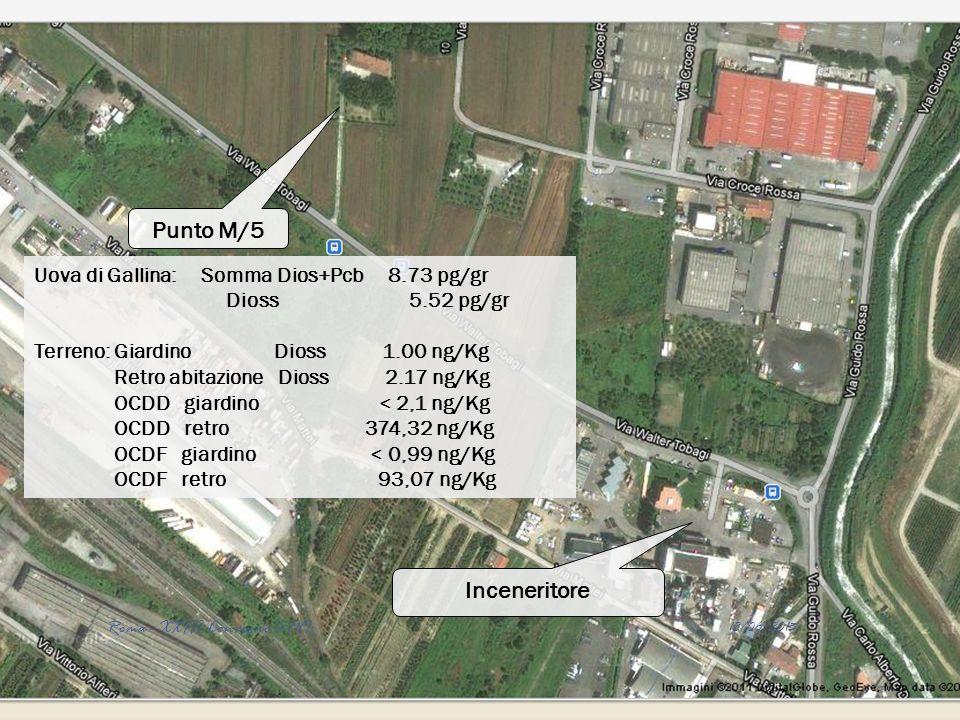 Inceneritore Punto M/5 Uova di Gallina: Somma Dios+Pcb 8.73 pg/gr Dioss 5.52 pg/gr Terreno: Giardino Dioss 1.00 ng/Kg Retro abitazione Dioss 2.17 ng/K
