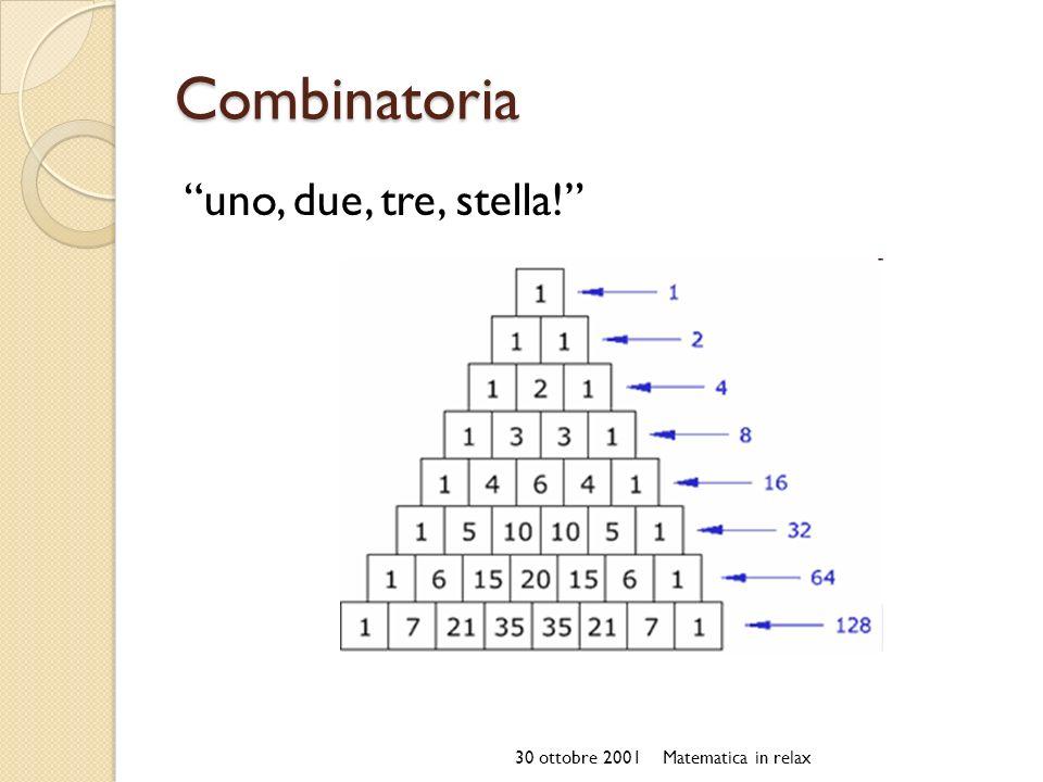 Combinatoria uno, due, tre, stella! 30 ottobre 2001Matematica in relax