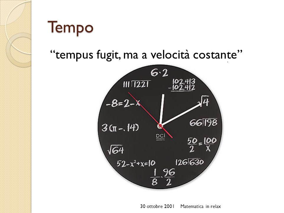 Tempo tempus fugit, ma a velocità costante 30 ottobre 2001Matematica in relax