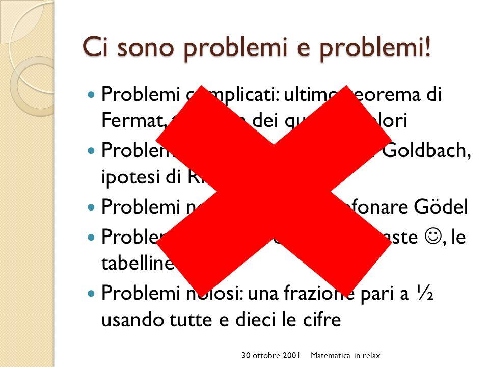 Ci sono problemi e problemi! Problemi complicati: ultimo teorema di Fermat, teorema dei quattro colori Problemi irrisolti: congettura di Goldbach, ipo