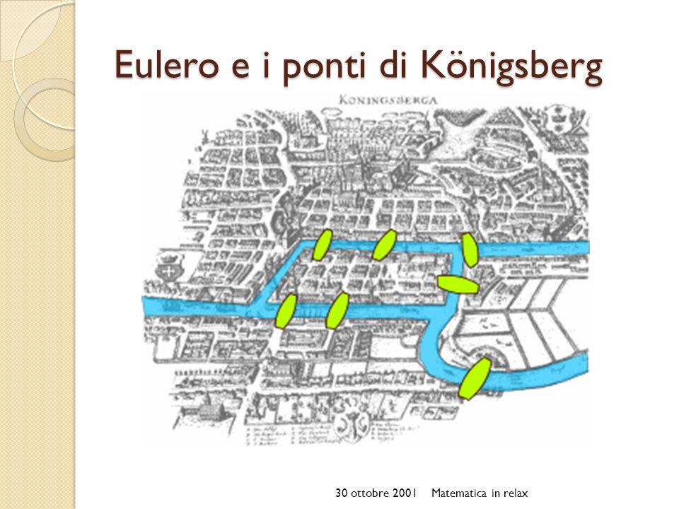 Eulero e i ponti di Königsberg 30 ottobre 2001Matematica in relax