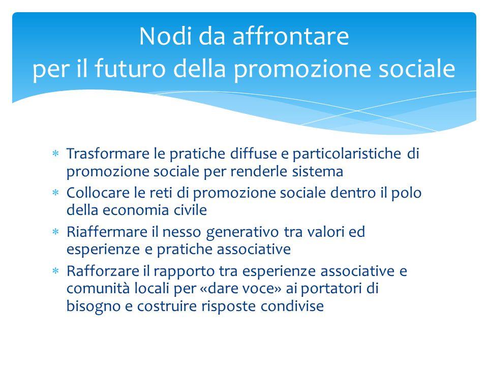 Trasformare le pratiche diffuse e particolaristiche di promozione sociale per renderle sistema Collocare le reti di promozione sociale dentro il polo