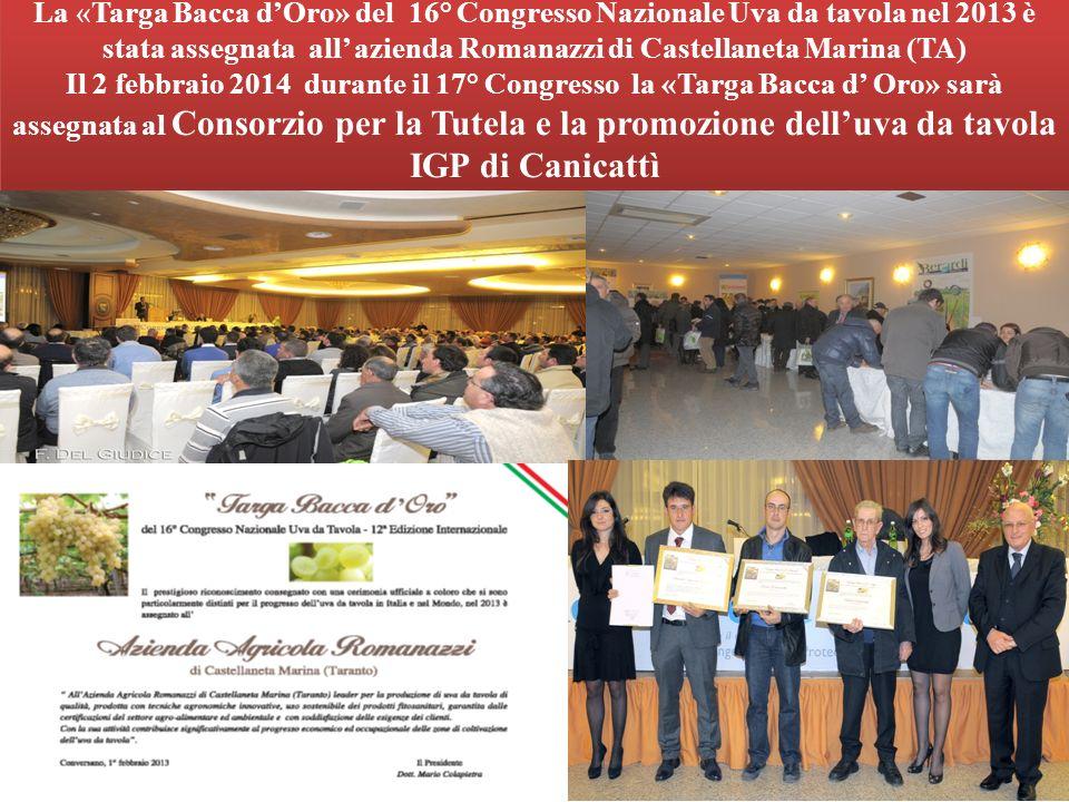 La «Targa Bacca dOro» del 16° Congresso Nazionale Uva da tavola nel 2013 è stata assegnata all azienda Romanazzi di Castellaneta Marina (TA) Il 2 febb