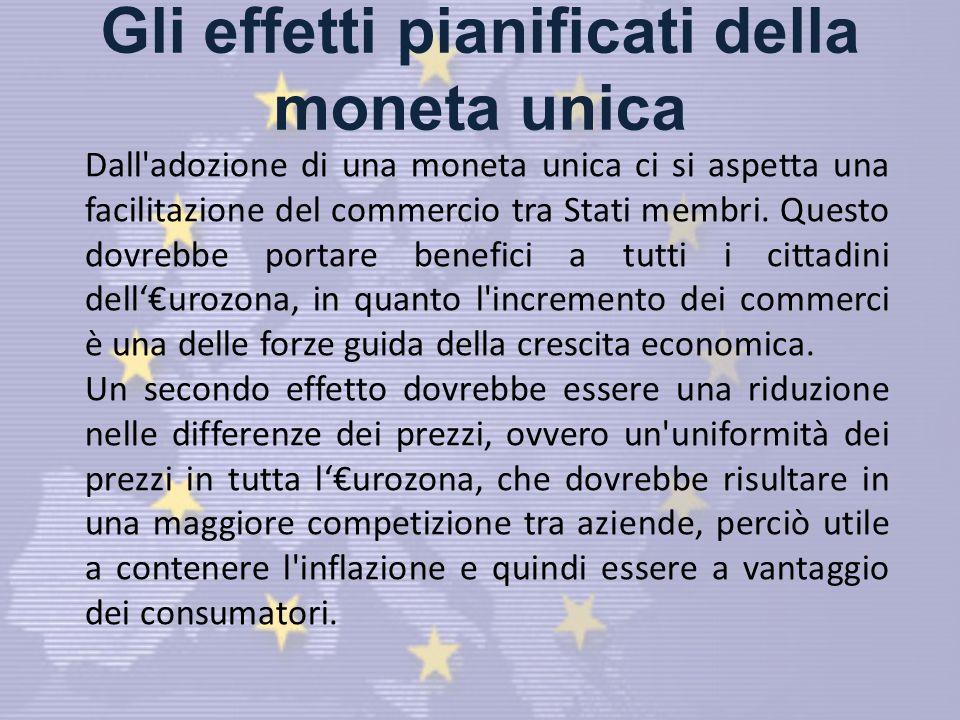 Gli effetti pianificati della moneta unica Dall adozione di una moneta unica ci si aspetta una facilitazione del commercio tra Stati membri.