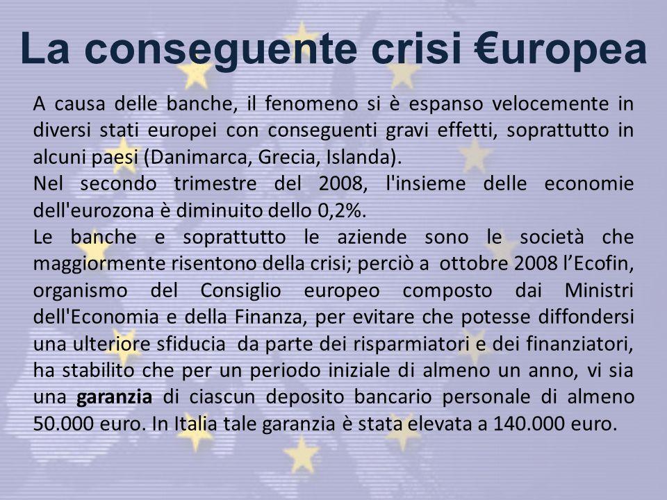 La conseguente crisi uropea A causa delle banche, il fenomeno si è espanso velocemente in diversi stati europei con conseguenti gravi effetti, soprattutto in alcuni paesi (Danimarca, Grecia, Islanda).