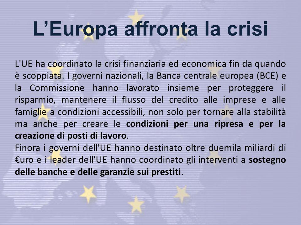 LEuropa affronta la crisi L UE ha coordinato la crisi finanziaria ed economica fin da quando è scoppiata.