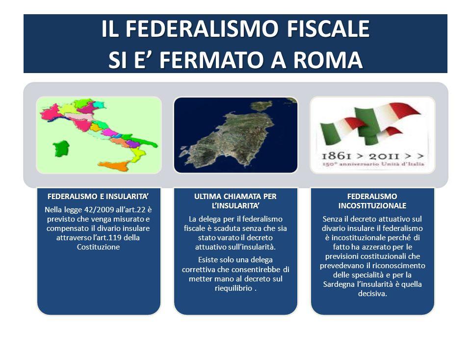 IL FEDERALISMO FISCALE SI E FERMATO A ROMA FEDERALISMO E INSULARITA Nella legge 42/2009 allart.22 è previsto che venga misurato e compensato il divario insulare attraverso lart.119 della Costituzione ULTIMA CHIAMATA PER LINSULARITA La delega per il federalismo fiscale è scaduta senza che sia stato varato il decreto attuativo sullinsularità.