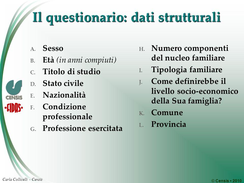 © Censis 2010 Carla Collicelli - Censis Il questionario: dati strutturali A. Sesso B. Età (in anni compiuti) C. Titolo di studio D. Stato civile E. Na