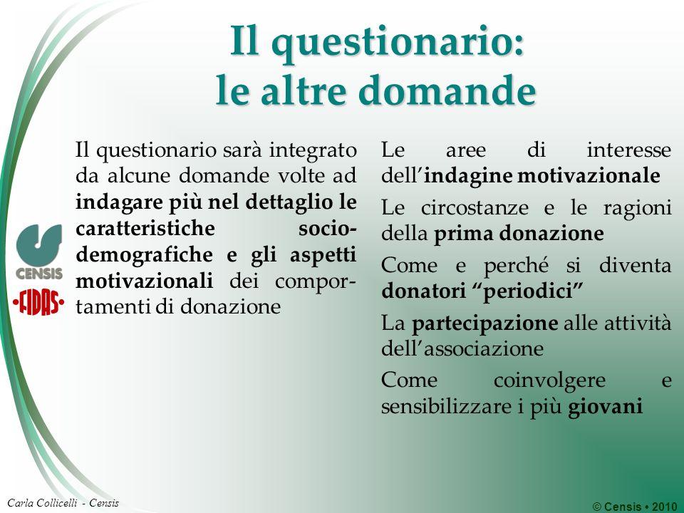 © Censis 2010 Carla Collicelli - Censis Il questionario: le altre domande Il questionario sarà integrato da alcune domande volte ad indagare più nel d