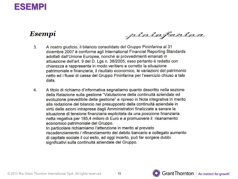 © 2013 Ria Grant Thornton International SpA. All rights reserved. 19 ESEMPI