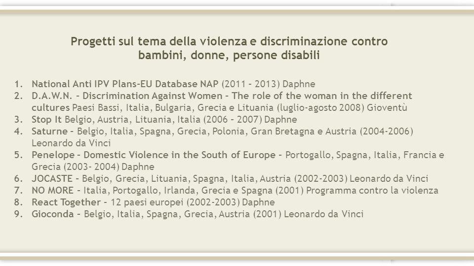Progetti sul tema della violenza e discriminazione contro bambini, donne, persone disabili 1.National Anti IPV Plans-EU Database NAP (2011 – 2013) Dap