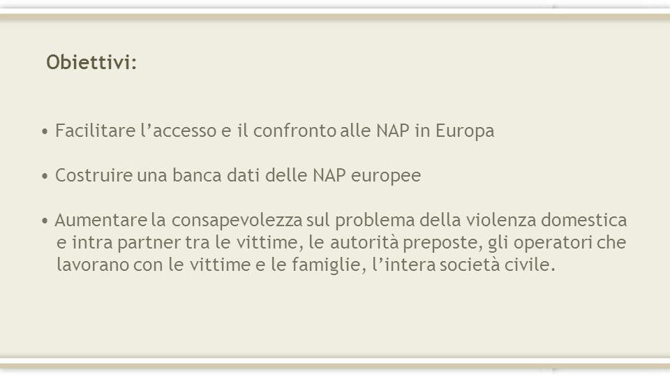Obiettivi: Facilitare laccesso e il confronto alle NAP in Europa Costruire una banca dati delle NAP europee Aumentare la consapevolezza sul problema d