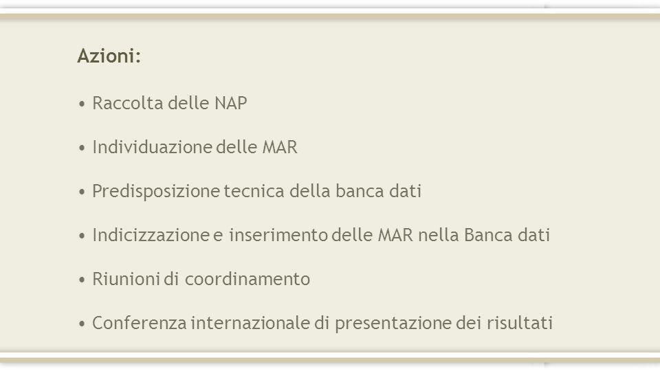 Azioni: Raccolta delle NAP Individuazione delle MAR Predisposizione tecnica della banca dati Indicizzazione e inserimento delle MAR nella Banca dati R