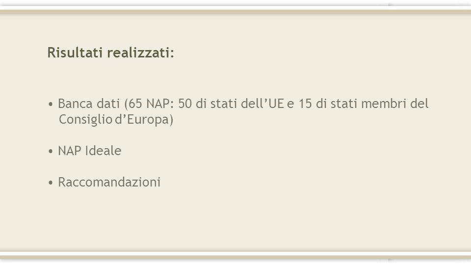 Risultati realizzati: Banca dati (65 NAP: 50 di stati dellUE e 15 di stati membri del Consiglio dEuropa) NAP Ideale Raccomandazioni