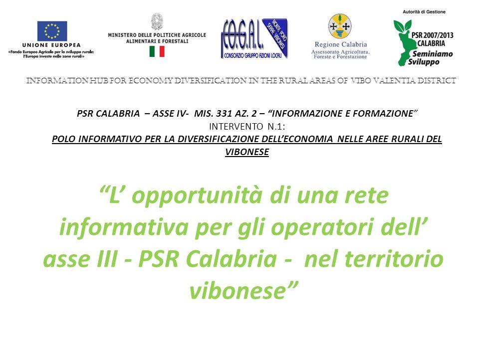 L opportunità di una rete informativa per gli operatori dell asse III - PSR Calabria - nel territorio vibonese PSR CALABRIA – ASSE IV- MIS.