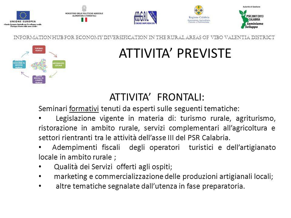 INFORMATION HUB FOR ECONOMY DIVERSIFICATION IN THE RURAL AREAS OF VIBO VALENTIA DISTRICT TURISMO RURALE ARTIGANATO LOCALE SERVIZI SOCIALI IN CAMPO RURALE ATTIVITA CONNESSE AL MONDO RURALE ATTIVITA PREVISTE ATTIVITA FRONTALI: Seminari formativi tenuti da esperti sulle seguenti tematiche: Legislazione vigente in materia di: turismo rurale, agriturismo, ristorazione in ambito rurale, servizi complementari allagricoltura e settori rientranti tra le attività dellasse III del PSR Calabria.