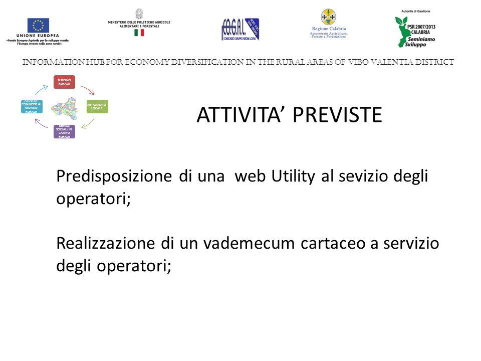 INFORMATION HUB FOR ECONOMY DIVERSIFICATION IN THE RURAL AREAS OF VIBO VALENTIA DISTRICT TURISMO RURALE ARTIGANATO LOCALE SERVIZI SOCIALI IN CAMPO RURALE ATTIVITA CONNESSE AL MONDO RURALE ATTIVITA PREVISTE Predisposizione di una web Utility al sevizio degli operatori; Realizzazione di un vademecum cartaceo a servizio degli operatori;